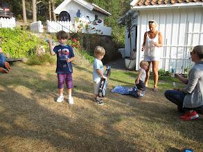 Photo: Back in Høvåg Elisabeth & Co have arrived from Chiswick, London: Finn, Soren, Oscar, Tonje and Elisabeth.