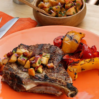 Cumin-Crusted Monster Pork Chop with Peach Chipotle Salsa Recipe