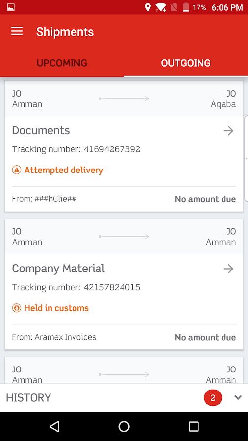 Aramex Mobile- screenshot