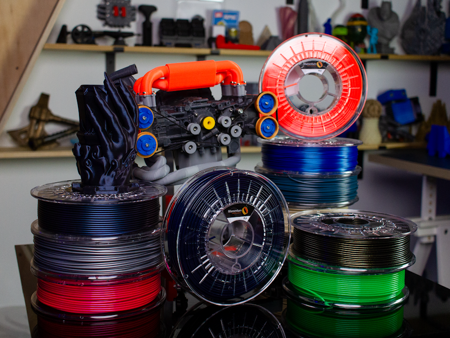 A small selection of the various colors and materials available in Fillamentum Premium 3D printing filament.