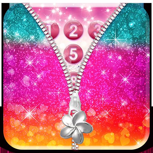Glitter Zipper Screen Lock App
