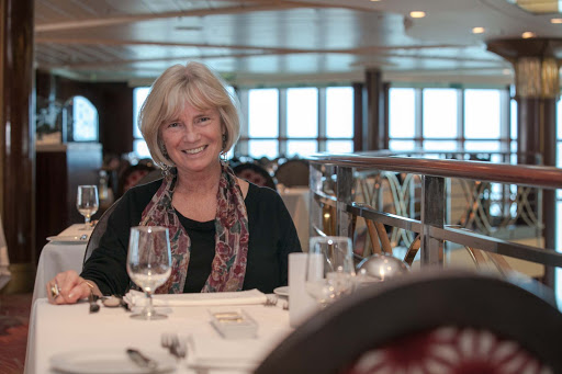 Christine-Loomis-Celebrity-Infinity - Christine Loomis, a SF Bay Area travel writer, in Trellis restaurant on Celebrity Infinity.