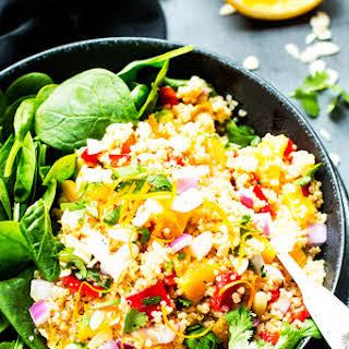 Vegan Quinoa Salad with Oranges and Spinach.