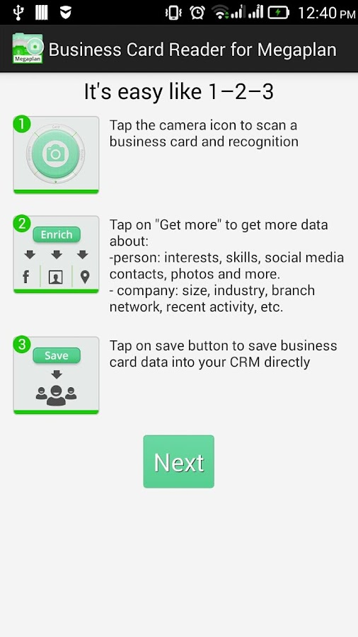 Free Business Card Reader for Megaplan CRM- screenshot