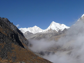 Photo: Baruntse (7220m) left and Chonku Chuli (6770m) right. The latter also named Pyramid Peak on some maps.