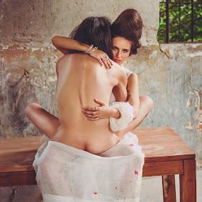The woman embracing a naked male soul by Zainea Alexandru - People Fashion ( body, fashion, naked, emanuel zainea, beauty, commercial )