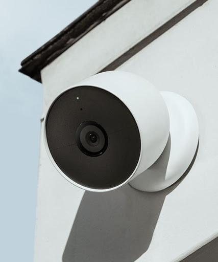 Nest Cam on the outside of a home.
