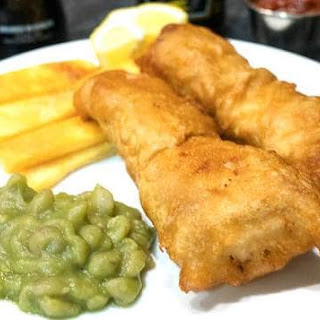 Beer Battered Fish Chips and Mushy Peas.