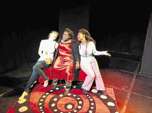 GRAPHIC GIRL-TALK: 'Six Inches' cast, from left, Cat played by Caitlin Clerk, Tsepho played by Bongie Lecoge-Zulu and Didi played by Dikelo Mamiala Picture: GILLIAN McAINSH