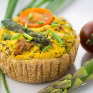Vegan Quiche with Asparagus and Tomatoes.