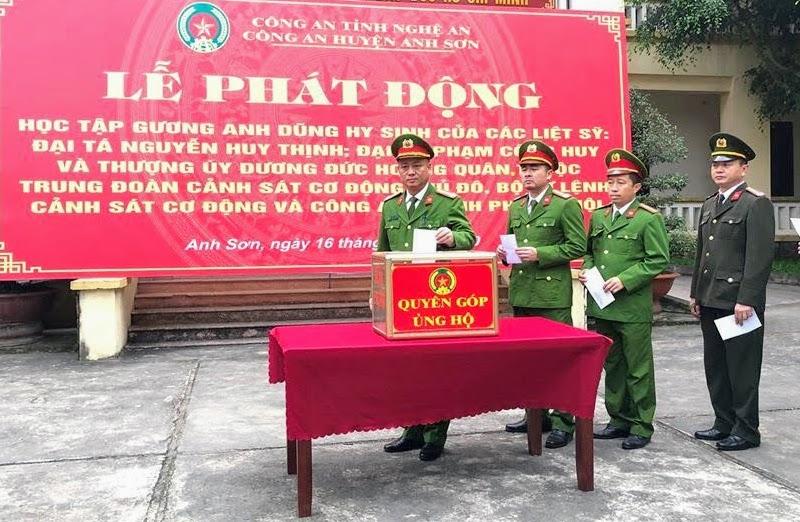 Công an huyện Anh Sơn phát động học tập 3 liệt sĩ hi sinh vì đảm bảo ANTT tại Đồng Tâm
