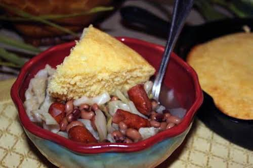 "Black-Eyed Peas and Little Smokies with Cabbage ""Love this easy meal for..."