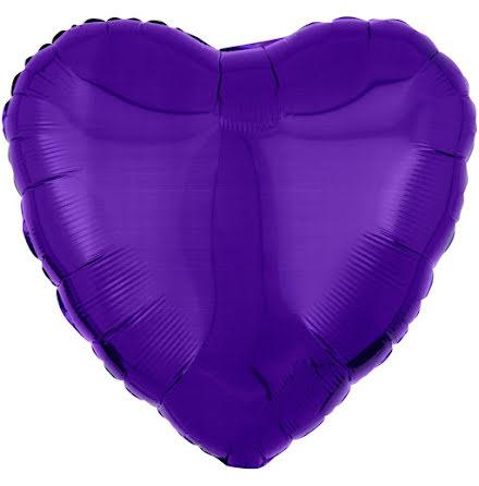 Folieballong, hjärta metallic lila 43 cm