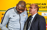 Bafana Bafana coach Molefi Ntseki and Russel Paul, acting Safa CEO, during the SA national soccer team press conference at Crowne Plaza Hotel on September 2 2019 in Johannesburg.