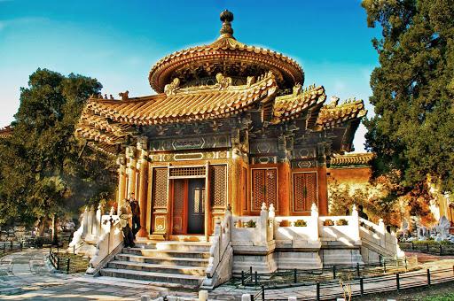 Beijing-Forbidden-City-garden - A garden in the Forbidden City in Beijing, China.
