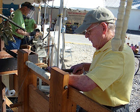 Photo: Russ Iler works at the pole lathe.