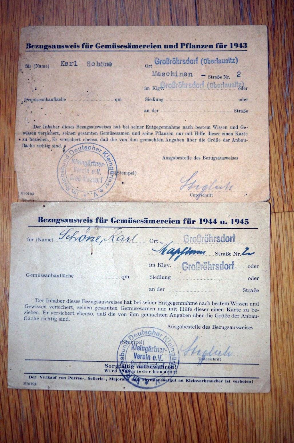 Bezugsausweis für Gemüsesämereien und Pflanzen 1943, 1944 u. 1945