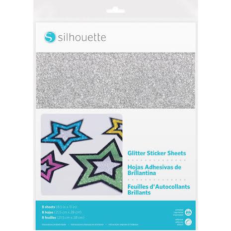 Silhouette Glitter Sticker Paper 8.5X11 8/Pkg - Silver