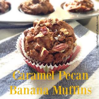 Caramel Pecan Banana Muffins {Gluten Free}