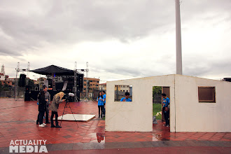 Photo: Filming for the practice shoot at Techo's La Colecta Event.