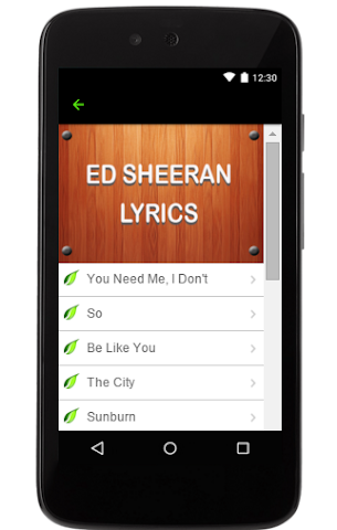 android Ed Sheeran Music Lyrics Screenshot 2