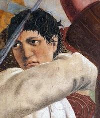Piero della Francesca,Battaglia di Eraclio e Cosroè (Dettaglio col giovane robusto colpito al cranio), Basilica di San Francesco, Arezzo