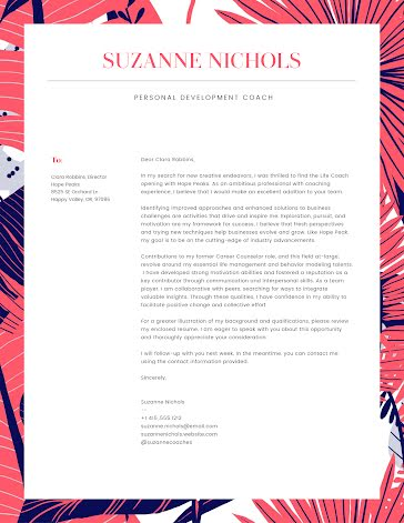 Suzanne Nichols - Cover Letter Template