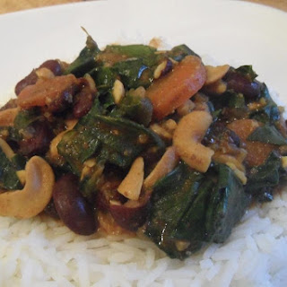 Slow Cooked Red Bean, Cashew And Spinach Curry