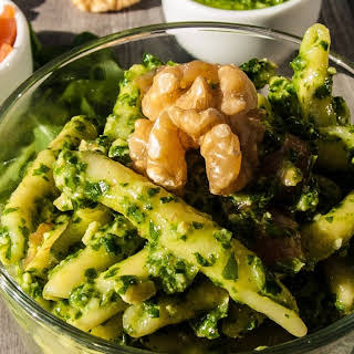 Pasta with Salmon and Arugula Pesto.