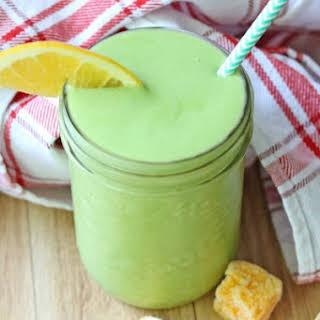 Orange Mango Green Protein Smoothie.