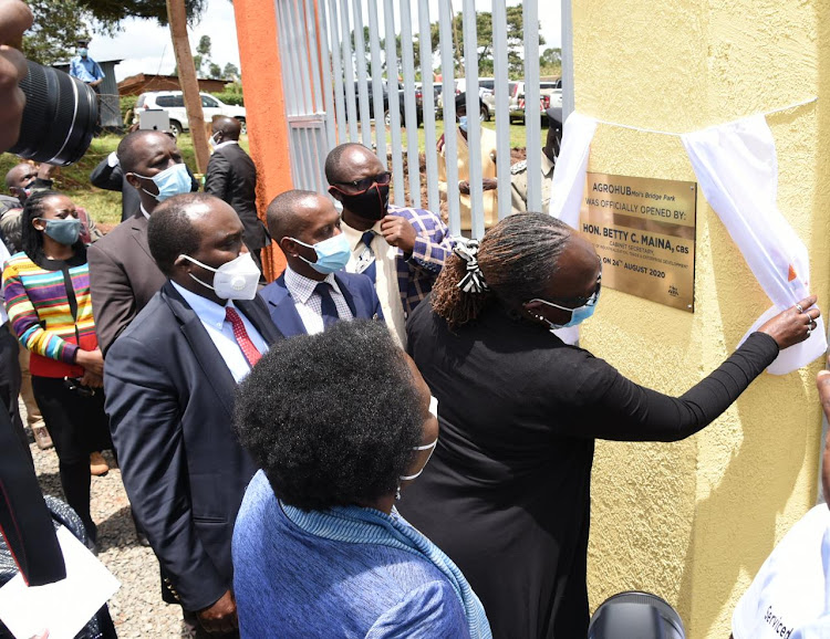 CS for Trade Betty Maina launches an agrohub at Moi's Bridge in Uasin Gishu on August 24.