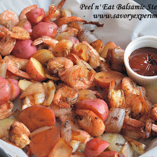 Peel n' Eat Balsamic Shrimp with Balsamic Cocktail Sauce