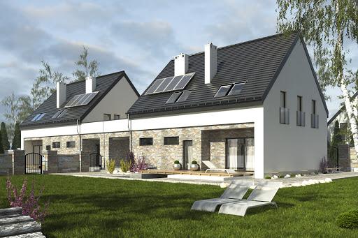 projekt Bernikla z garażem 2-st. bliźniak A1-BL1