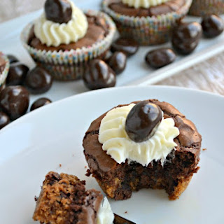 Chocolate Chip Brownie Cups with DOVE® Fruit Cherries.