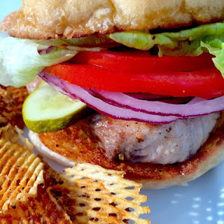 Mahi Mahi Burger with Honey-Mustard Sauce.  PatrickEvansHylton.com
