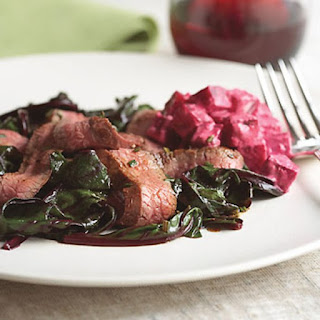 Grilled Flank Steak with Sauteed Beet Greens and Creamy Horseradish Beets