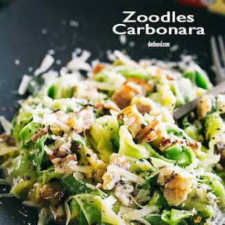 Pasta Carbonara with Zucchini Noodles.