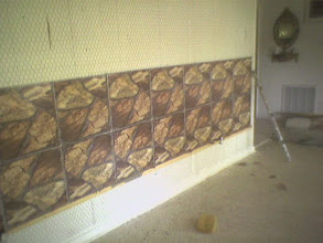 Photo: 12x12Tiled wall with wire on wall
