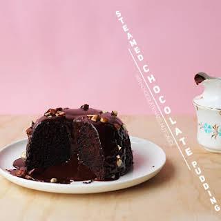 Steamed Chocolate Pudding with Choc-Hazelnut Sauce.