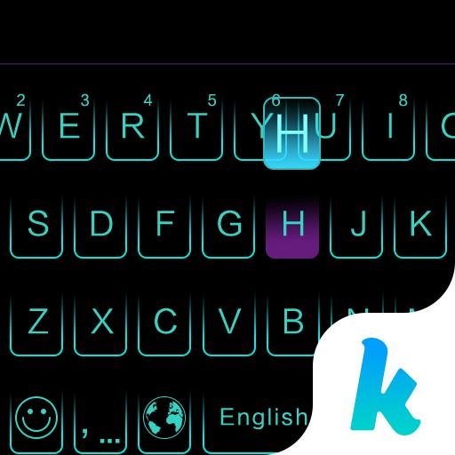 Neon Blue Kika Keyboard Theme