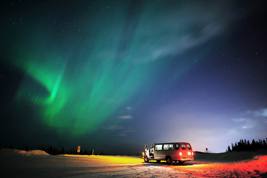 Northern Lights by Pete Piriya - Landscapes Weather ( car, northern, borealis, aurora, alaska, light )