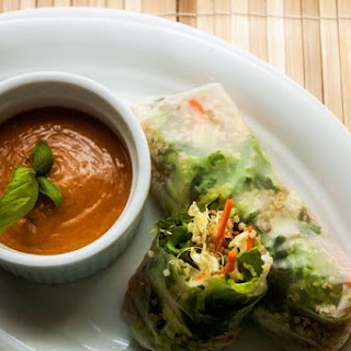 Quinoa Spring Rolls with Spicy Peanut Sauce