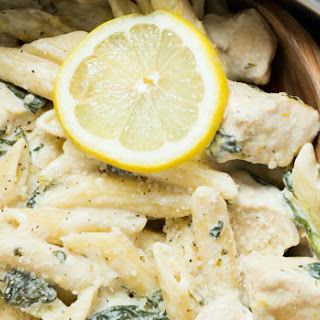 One Pot Creamy Lemon Chicken Pasta with Baby Kale
