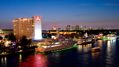 "Photo: Hilton Fort Lauderdale Marina, my ""home"" for 8 nights. Views towards the city and the intracoastal waterway from the bridge next to the hotels were just great"