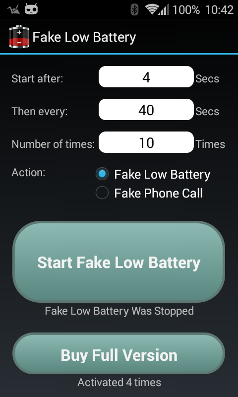 Fake Low Battery- screenshot