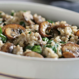 Risotto with Exotic Mushrooms and Spinach.