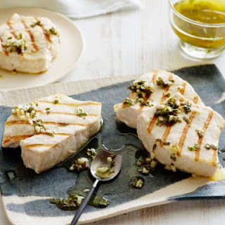 Grilled Swordfish with Lemon, Mint and Basil.