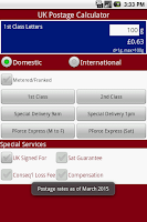 Screenshot of UK Postage Calculator