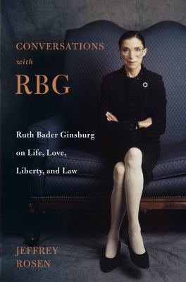 Cover of Conversations with RBG. Justice Ginsburg sitting cross-legged