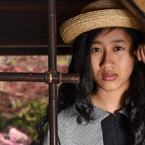 At the Japanes Garden by Henk  Veldhuizen - People Portraits of Women ( indonesian, girl, woman, portrait, hat,  )